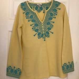 Lilly Pulitzer Tunic Style Yellow Cashmere Sweater